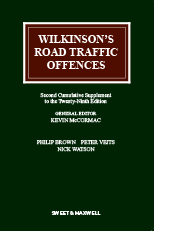 Wilkinson's Road Traffic Offences, 2nd Supplement to the 29th Edition